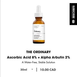 ascorbic acid and alpha arbutin